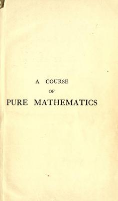 Product picture A course of pure mathematics (1921)